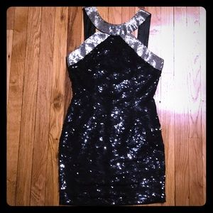 Vintage sequins beaded black dress